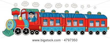Steam Locomotive With Engine Driver And Wagons