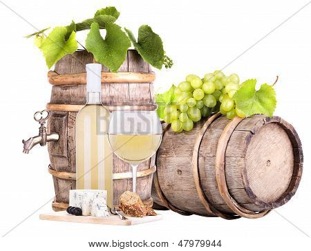 grapes on a barrel wine  and cheese
