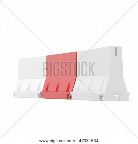 White and red road barriers