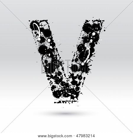 Letter V Formed By Inkblots