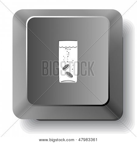 Glass with tablets. Raster computer key.