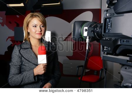 Reporter With Braking News Smiling