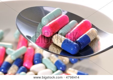Spoon Filled With Pills