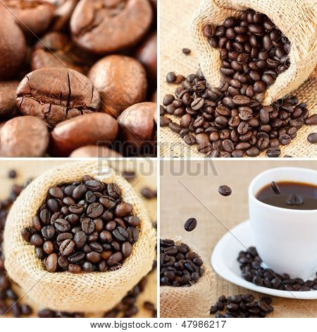 Coffee Collage Made With Four Unique Images