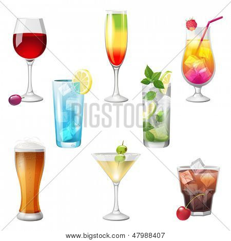 8 highly detailed cocktails icons