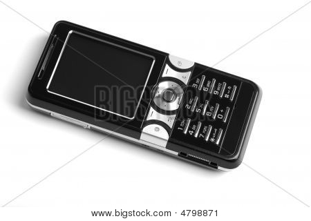 Black Modern Mobile Phone Isolated