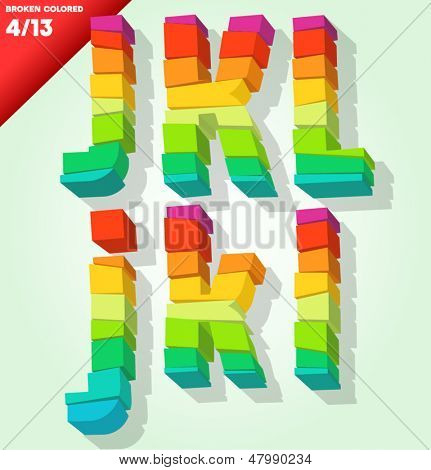 Broken colorful alphabet. Vector illustration Symbols j k l