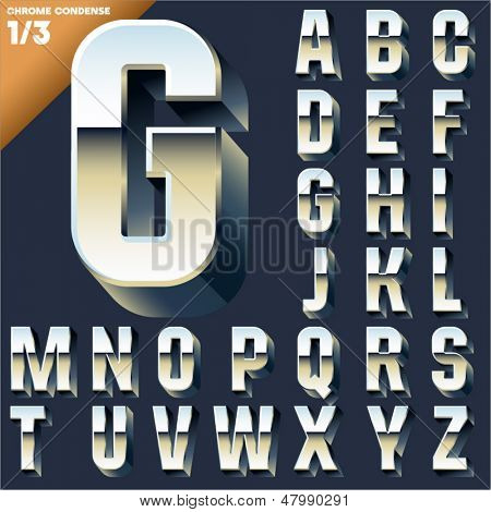 Vector alphabet of simple 3d letters. Sans bold. Upper cases Chrome