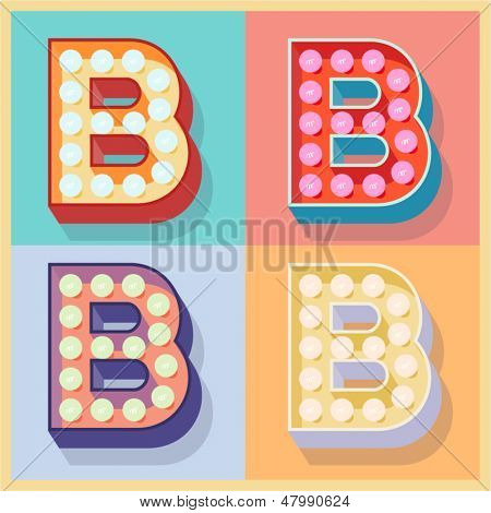 Vector illustration of simple and clear flat lamp alphabet. Letter b