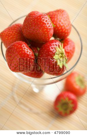 Ripe Strawberries In Glass Bowl
