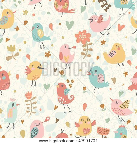 Cute seamless pattern with small birds and flowers. Spring vector background in pastel colors. Seamless pattern can be used for wallpapers, pattern fills, web page backgrounds, surface textures.