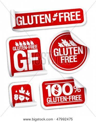 Gluten free food stickers set.
