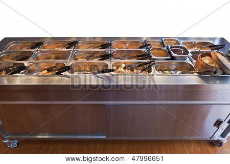 Chinese Buffet Warmer Display With Food