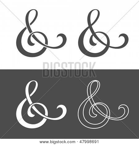 & - Custom ampersand for wedding invitation. Vector illustration
