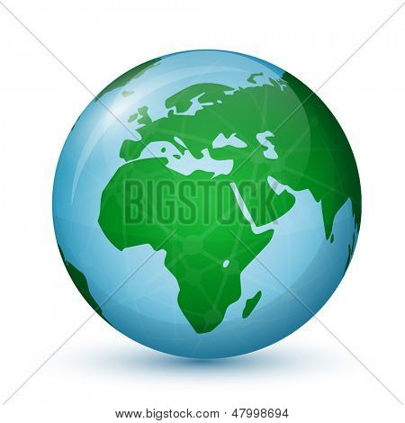World Globe Map - Africa and Europe. Global communication concept. Vector illustration