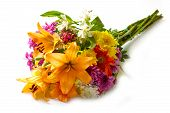 picture of bouquet  - beautiful bouquet of bright flowers isolated on white - JPG