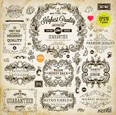 image of footprint  - Vintage set of calligraphic design elements - JPG