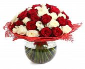 Floral Compositions Of Red And White Roses. A Large Bouquet Of Mixed Colored Roses. Design A Bouquet