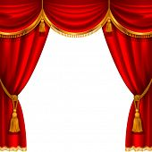 stock photo of tassels  - Theater stage with red curtain - JPG