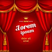 image of tassels  - Theater stage with red curtain - JPG