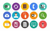 image of video chat  - Vector collection of colorful icons in modern flat design style on communication and mobile connection theme - JPG