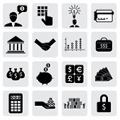 Bank & Finance Icons(signs) Related To Money, Wealth- Vector Graphic