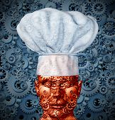 image of meals wheels  - Food technology and nutrition processing concept with a man like robot made of gears and cog wheels wearing a chef hat as a symbol of modern cooking and future cuisine - JPG