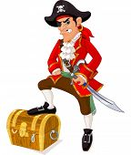 stock photo of pistol  - Illustration of cartoon pirate - JPG