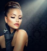 picture of woman glamorous  - Beauty Fashion Glamour Girl Portrait - JPG