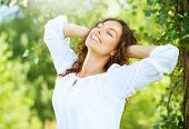 picture of human teeth  - Beautiful Young Woman Outdoor - JPG