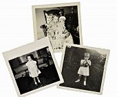 stock photo of keepsake  - Three old photos of a young girl black and white from 1950 - JPG