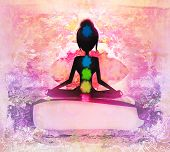 stock photo of padmasana  - Yoga lotus pose - JPG