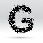 foto of g-spot  - Letter G formed by black and white ink blots - JPG