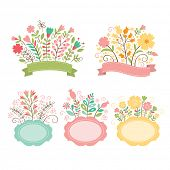picture of floral bouquet  - Set of floral bouquets and romantic frames - JPG