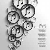 image of pamphlet  - eps10 vector overlapping music note background - JPG