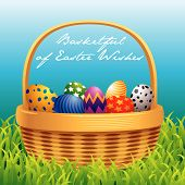 picture of easter basket eggs  - Colorful greeting card with Easter basket filled with eggs - JPG