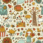 stock photo of cute frog  - Cute fairytale seamless pattern with little princess - JPG
