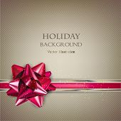 Elegant Holiday background with red bow and place for text. Vector Illustration.