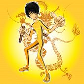 stock photo of jumpsuits  - Kungfu Master Wearing Yellow Jumpsuit Playing Nunchucks With Dragon Tatoo - JPG