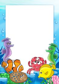 image of sea life  - Frame with tropical fishes 2 and related objects  - JPG