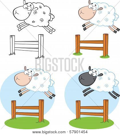 Sheep Characters Jumping Over A Fence  Collection Set
