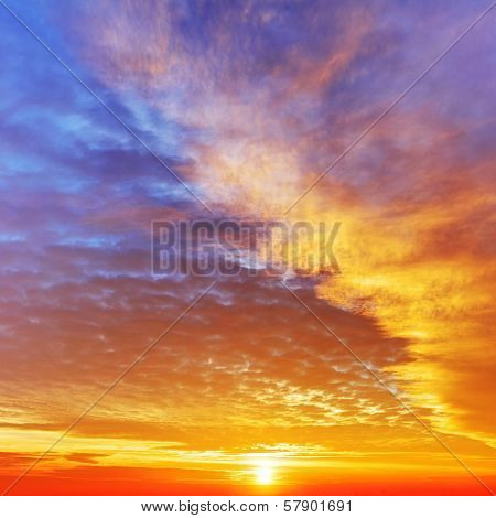 Sky With Dramatic Cloudy Sunset And Sun