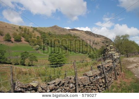 Drystone Wall In Beautiful Valley
