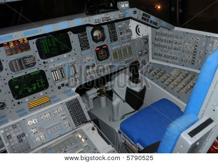 Space Shuttle Cockpit. Interior view of Space Shuttle flight controls and cockpit. download preview