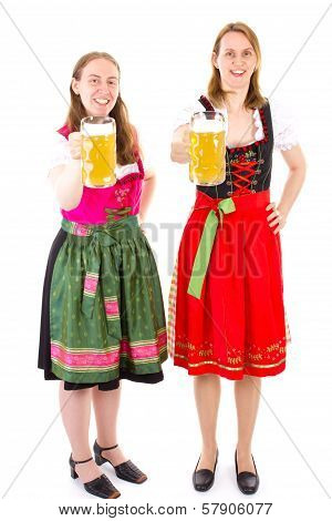 Women In Dirndls Having Fun At Oktoberfest