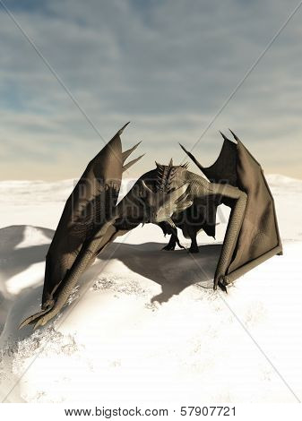 Dragon Prowling through the Snow