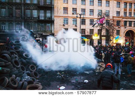 Overview Of The Barricade At Hrushevskogo Street In Kiev, Ukraine
