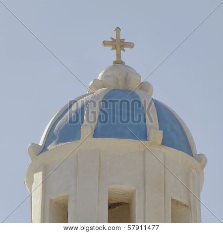 Church steeple in a mediterranean island