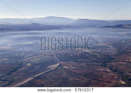 Aerial Foggy Landscape Near Ronda.