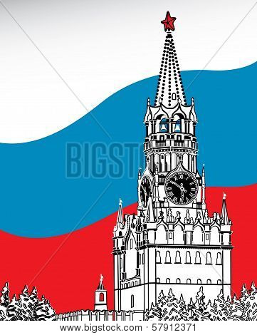The Moscow Kremlin. Flag Of Russia.vector